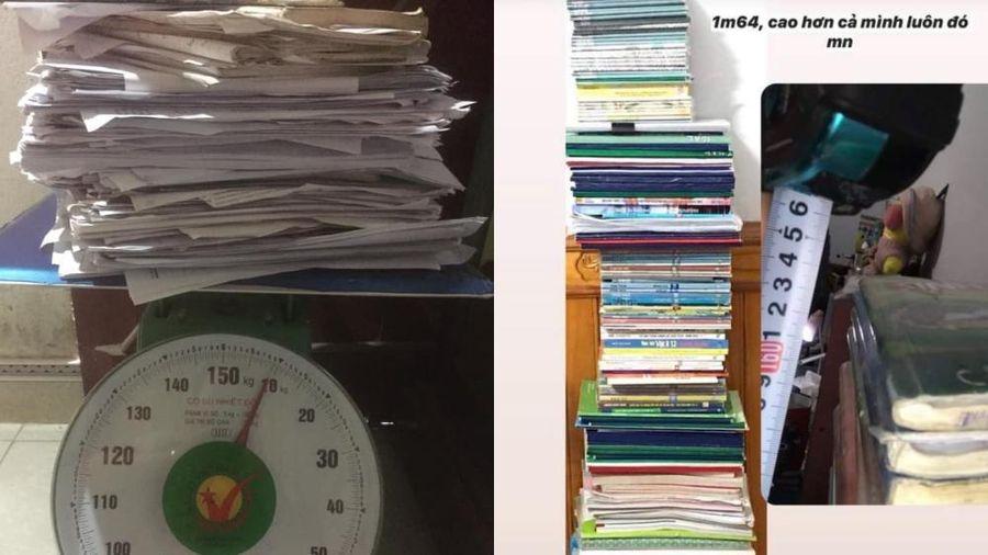 'Trend' mới của hội sĩ tử hậu mùa thi: 'Đọ' cân nặng của sách vở, tài liệu, đề luyện thi