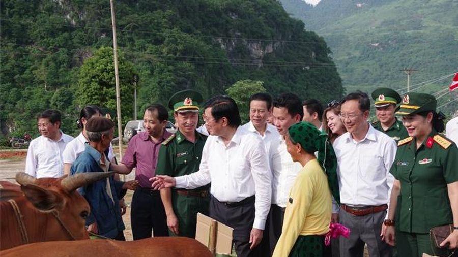 Nguyên Chủ tịch nước Trương Tấn Sang kiểm tra Chương trình 'Chung tay vì cộng đồng - Bò giống giúp người nghèo biên giới'