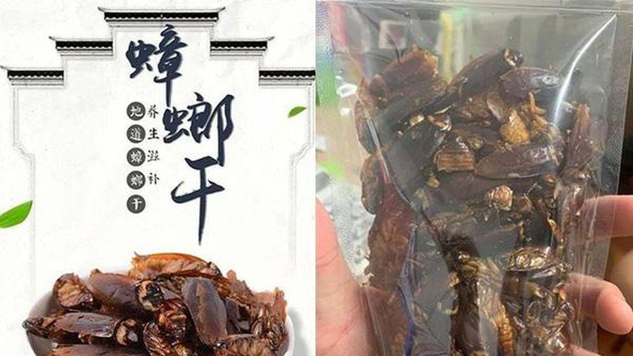 Trang ăn vặt Đài Loan rao bán snack gián sấy khô