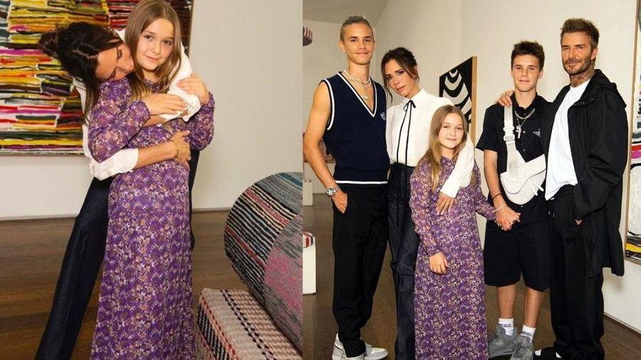 Harper Beckham bị fan chê già như bà thím khi diện váy tím mẹ Victoria thiết kế