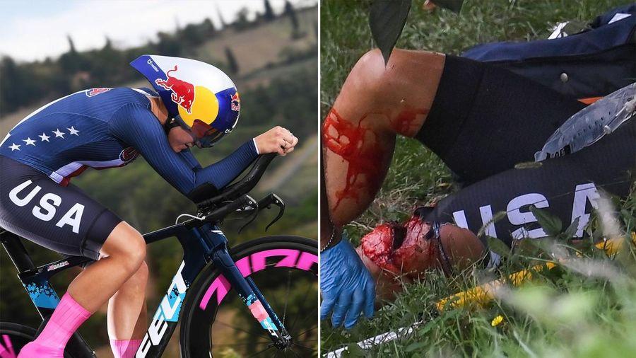 Clip: Tai nạn té vực, nữ tay đua vỡ đầu gối