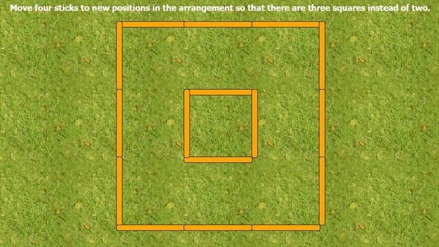 Di chuyển 4 que diêm để tạo thành 3 hình vuông