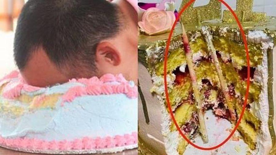 Bức ảnh khiến nhiều người giật mình sợ hãi nghĩ lại trò úp bánh kem vào mặt, mối nguy hiểm quả thật rất khôn lường