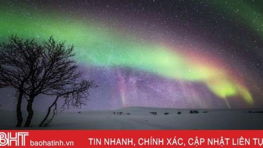 Cực quang uốn lượn trên nền trời đêm tuyệt đẹp ở Phần Lan