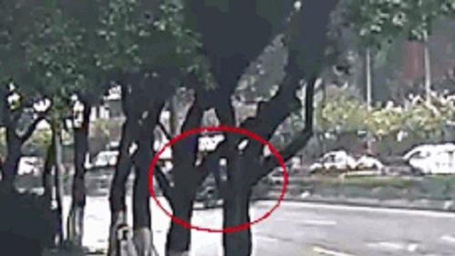 Camera giao thông: Bị ô tô đâm, người đi xe máy thoát chết hy hữu nhờ đội mũ bảo hiểm