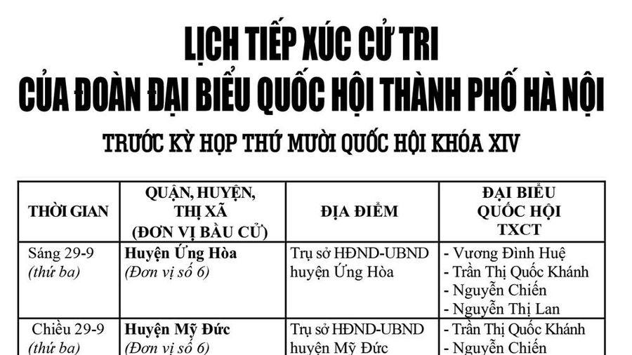 Lịch tiếp xúc cử tri của đoàn Đại biểu Quốc hội thành phố Hà Nội