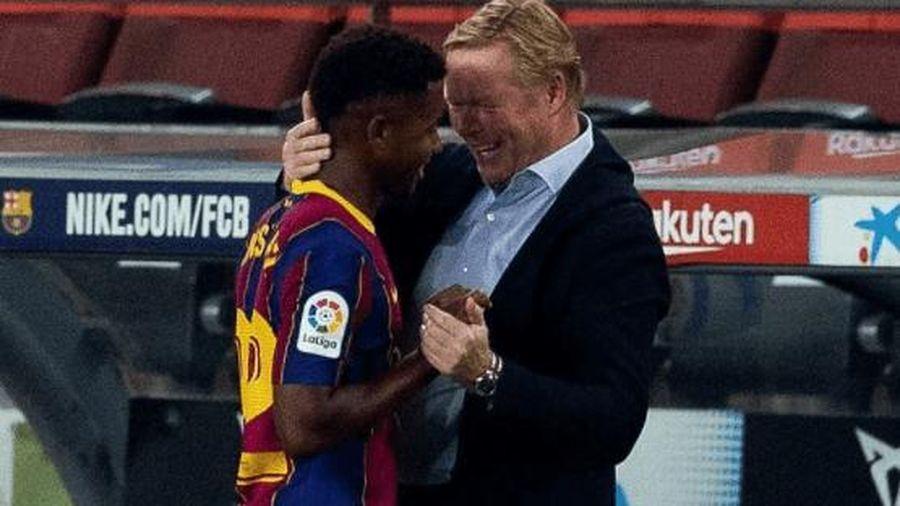 Barca thắng to, HLV Koeman phấn khích với 'thần đồng' Ansu Fati
