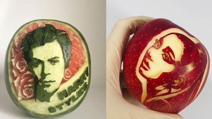 Nghệ sĩ Nhật Bản khắc hình người nổi tiếng trên trái cây