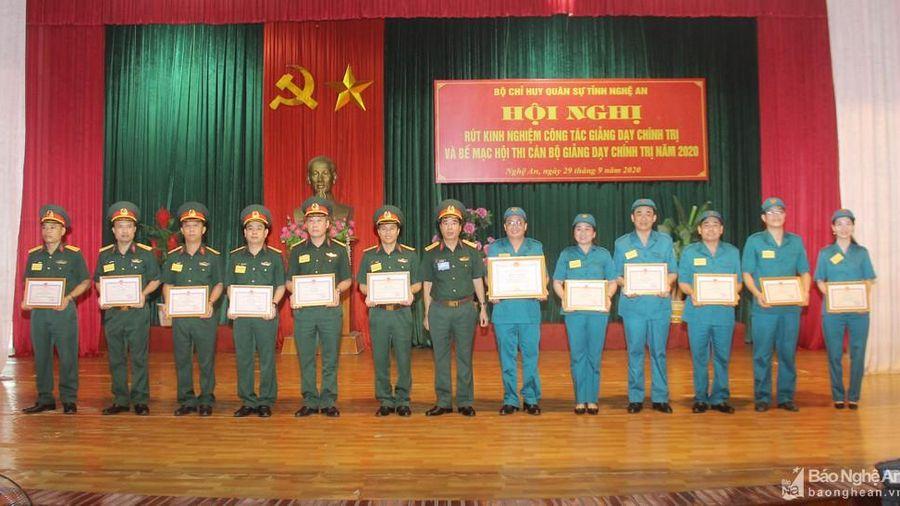 Bộ Chỉ huy quân sự tỉnh bế mạc hội thi cán bộ giảng dạy chính trị năm 2020