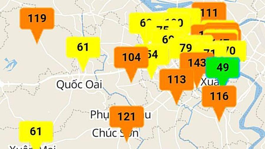 Nhiều khu vực tại Hà Nội có chất lượng không khí ở mức kém