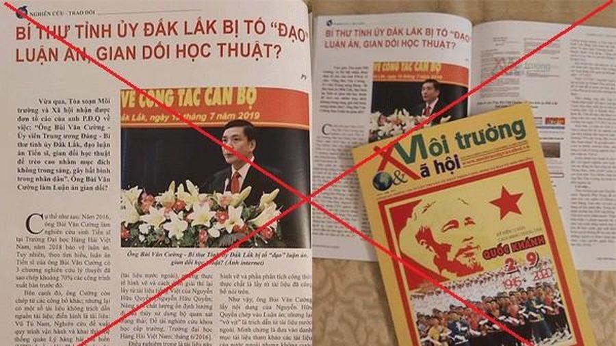 Thu hồi giấy phép 1 tạp chí thông tin sai về Bí thư Đắk Lắk