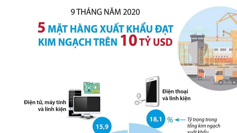 5 mặt hàng xuất khẩu trên 10 tỷ USD trong 9 tháng năm 2020