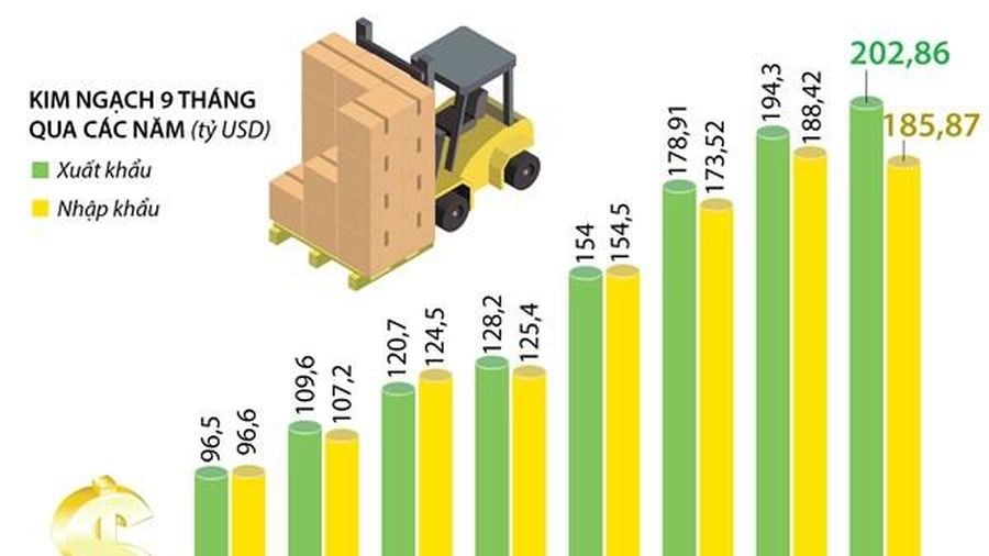 9 tháng năm 2020, Việt Nam xuất siêu khoảng 17 tỷ USD