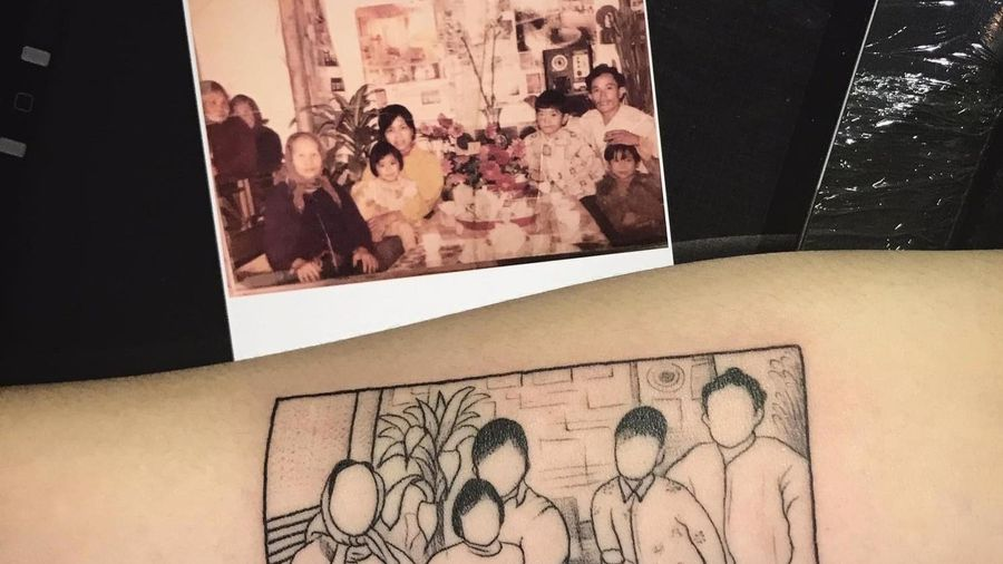 Xăm ảnh gia đình lên cơ thể để lưu giữ kỷ niệm