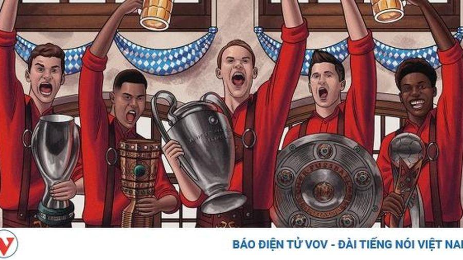 Biếm họa 24h: Bayern Munich mở hội ăn mừng 'cú ăn 5' thần thánh