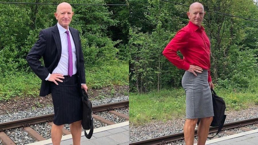 Người đàn ông diện váy và giày cao gót đi làm