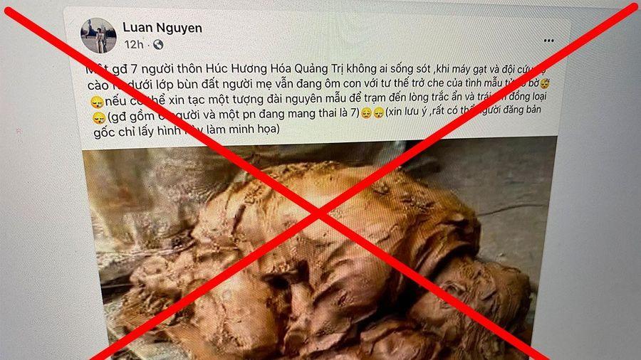 Cảnh 'mẹ ôm con dưới bùn' tại Quảng Trị là tin giả
