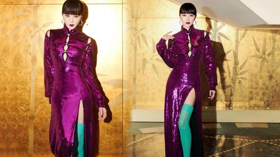 Chịu chơi như nữ hoàng thảm đỏ Phạm Băng Băng, mix váy tím lịm với tất xanh lét nổi bật tại sự kiện