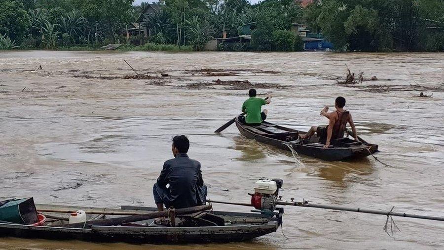 Người dân liều lĩnh bơi thuyền vớt củi bất chấp nước sông dâng cao cuồn cuộn