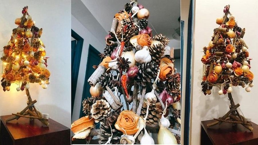 Sáng tạo cây thông Noel 'nồng nàn vị bếp'