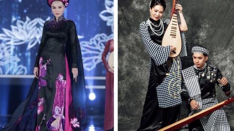 Nhà thiết kế 'tố' áo dài La Sen Vũ ở Hoa hậu Việt Nam giống 70% của mình: Đó là khăn Campuchia chứ không phải khăn rằn