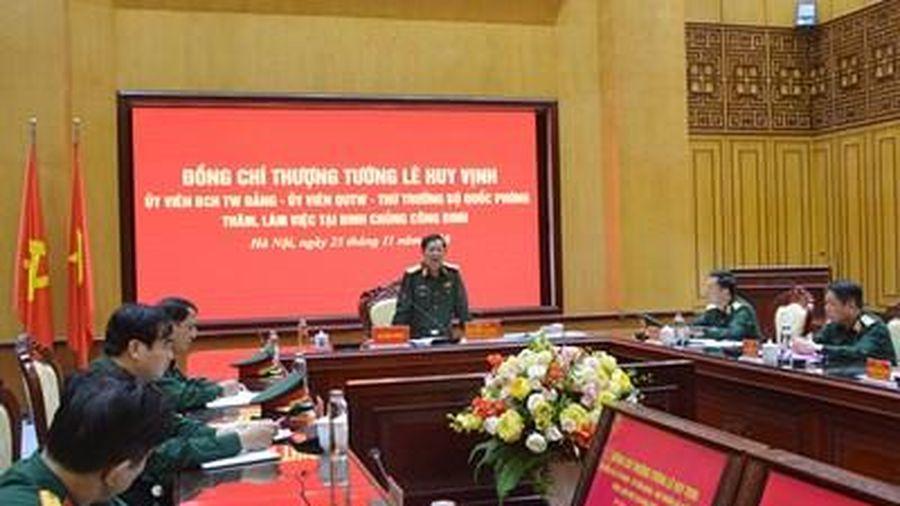 Thượng tướng Lê Huy Vịnh thăm, làm việc tại Binh chủng Công binh