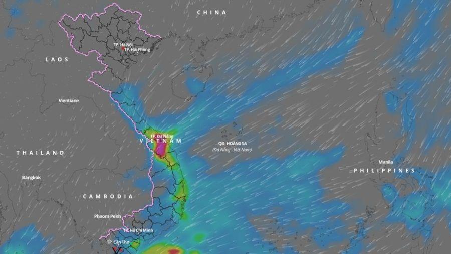 Từ ngày 28/11 đến ngày 1/12, các tỉnh Trung Trung Bộ có mưa vừa, mưa to