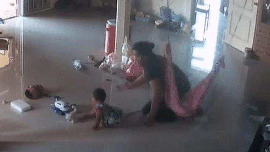 Khoảnh khắc 'nghẹt thở' khi mẹ cứu con trai 1 tuổi khỏi bị rết khổng lồ cắn