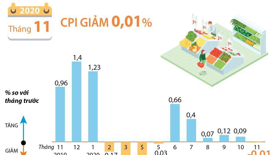 CPI tháng 11/2020 giảm 0,01% so với tháng trước