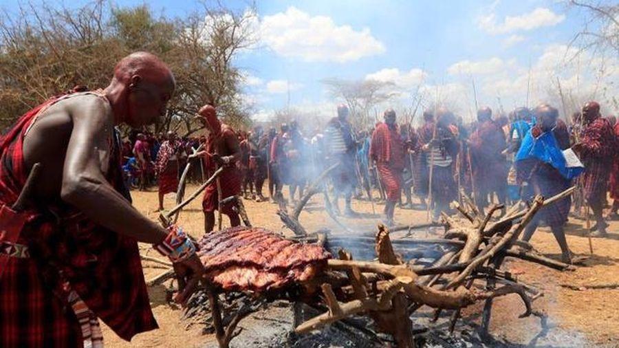 Kinh ngạc lượng thịt khổng lồ trong đại tiệc thịt của người Maasai