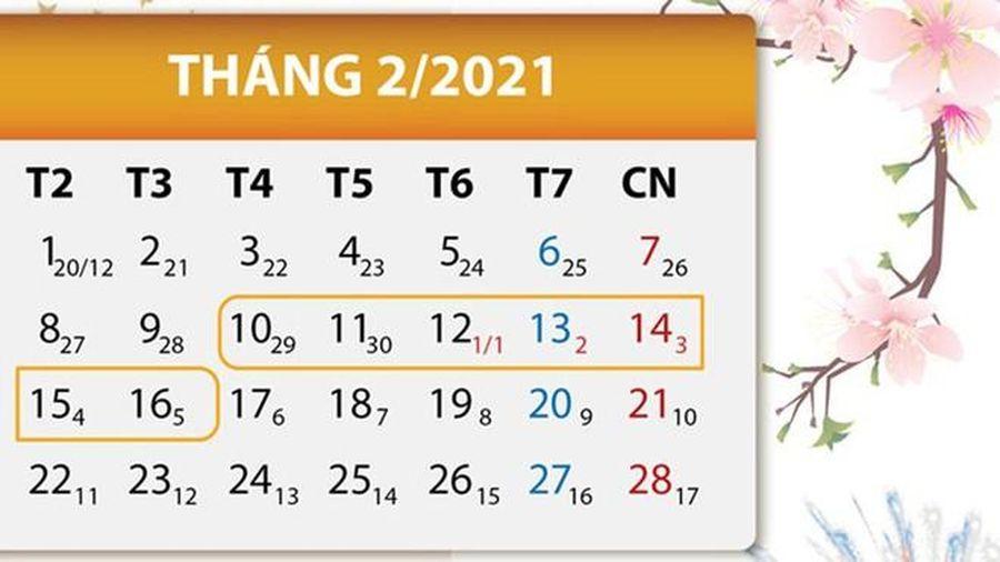 Nghỉ Tết Âm lịch Tân Sửu 7 ngày