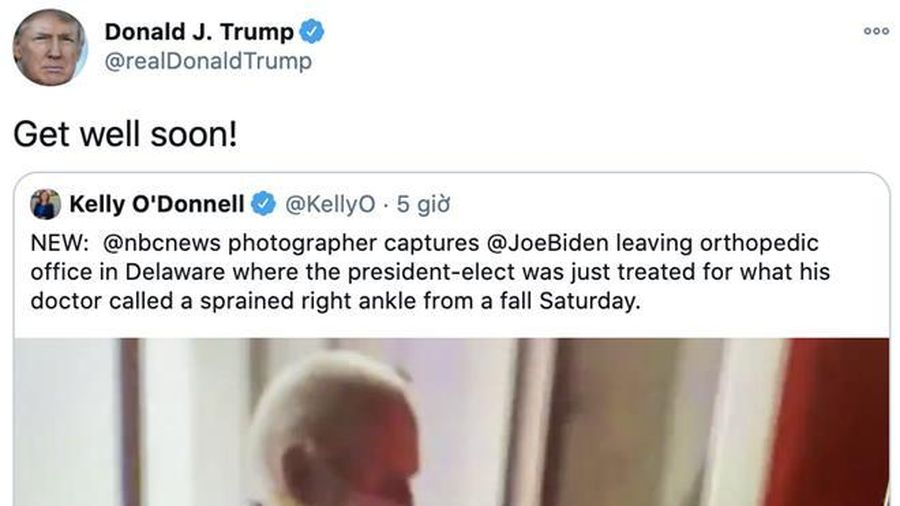 Tổng thống Trump gửi lời chúc tới ông Biden