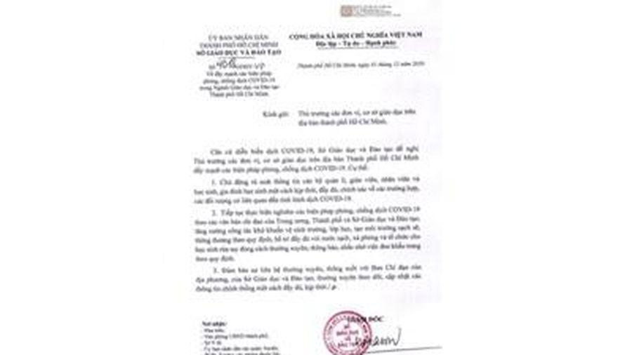 Sở Giáo dục & Đào tạo TP Hồ Chí Minh đẩy mạnh các biện pháp phòng, chống dịch COVID-19