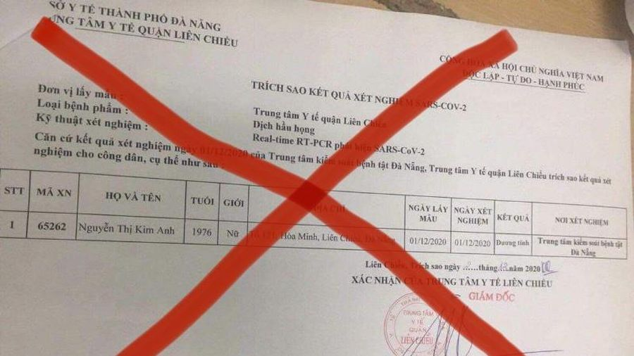 Cảnh báo giả mạo kết quả dương tính với COVID-19 tại Đà Nẵng