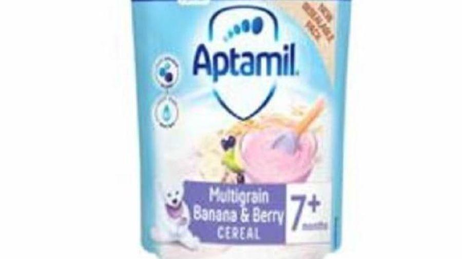 Thu hồi Bột ngũ cốc Aptamil Multigrain Banana and Berry Cereal 7+ months chứa mẩu nhựa nhỏ