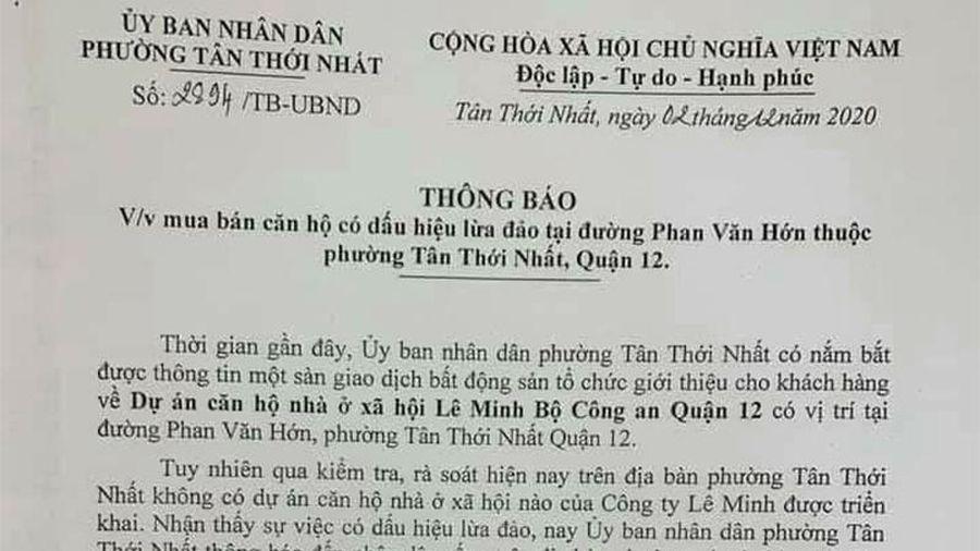 Cảnh báo về dự án 'ma' ở đường Phan Văn Hớn, quận 12