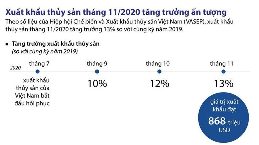 Infographics: Xuất khẩu thủy sản tháng 11 tăng trưởng ấn tượng