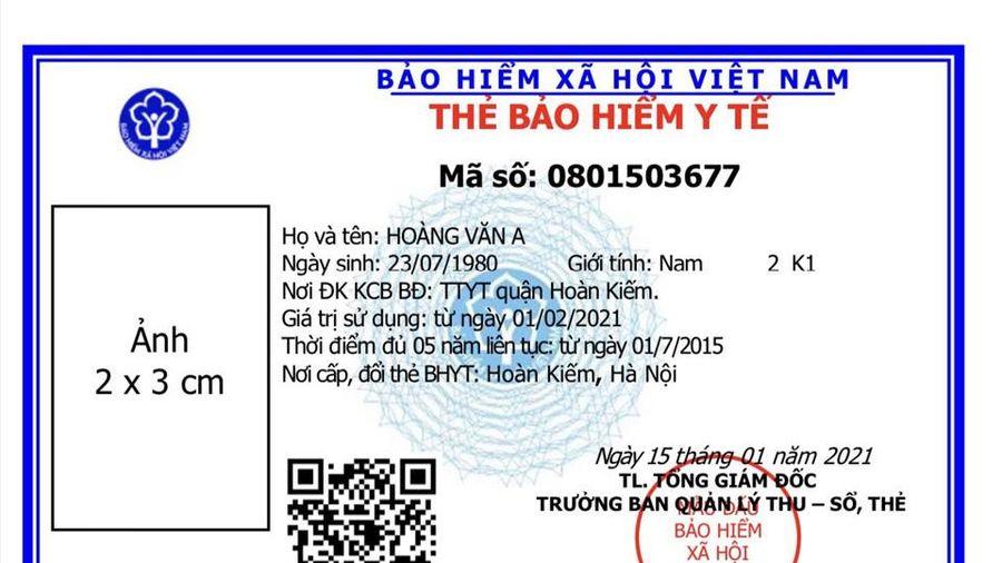Từ 1/4/2021 sẽ sử dụng mẫu thẻ BHYT mới
