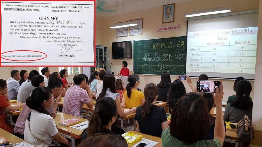 Đưa giấy mời họp phụ huynh học sinh có dòng chữ 'lạ', một giáo viên bị khiển trách