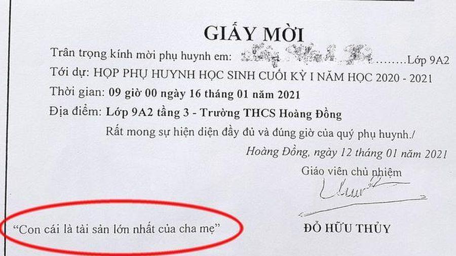 Ghi giấy mời 'con cái là tài sản lớn nhất của cha mẹ', thầy giáo bị nhắc nhở