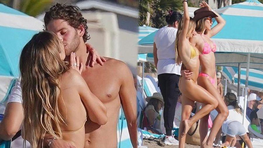 'Cô chiêu' Hollywood mặc bikini siêu bé, ôm hôn sao Love Island trên bãi biển