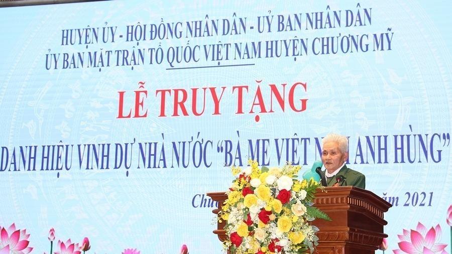 Huyện Chương Mỹ có thêm 2 mẹ được truy tặng danh hiệu vinh dự Nhà nước 'Bà mẹ Việt Nam anh hùng'