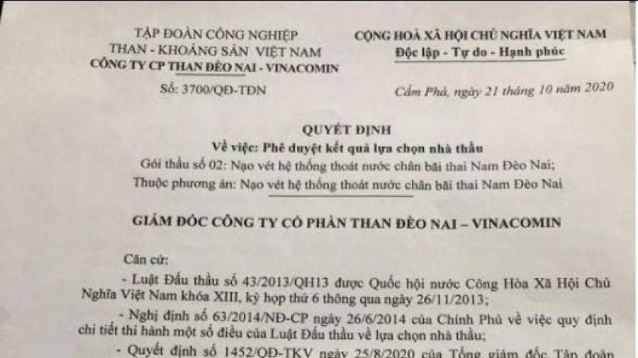Công ty CP than Đèo Nai – Vinacomin 'phớt lờ' quy định đấu thầu