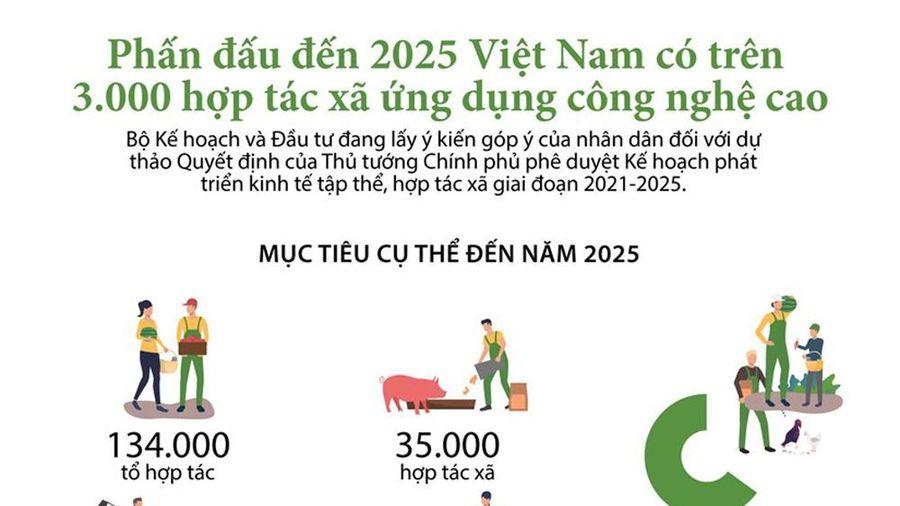 Infographics: Phấn đấu đến 2025, Việt Nam có hơn 3.000 hợp tác xã ứng dụng công nghệ cao