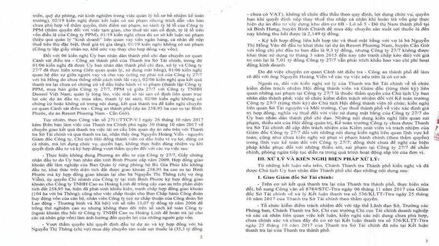 TP Hồ Chí Minh: Chuyển hồ sơ sai phạm của Công ty 27/7 sang cơ quan điều tra