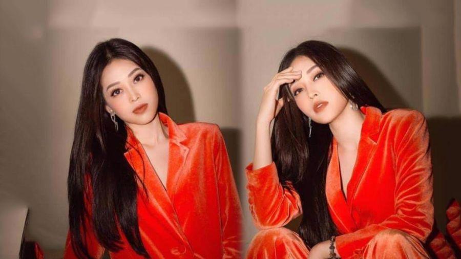 Á hậu Phương Nga đẹp ngút ngàn với suit nhung màu cam cháy tôn dáng nịnh da