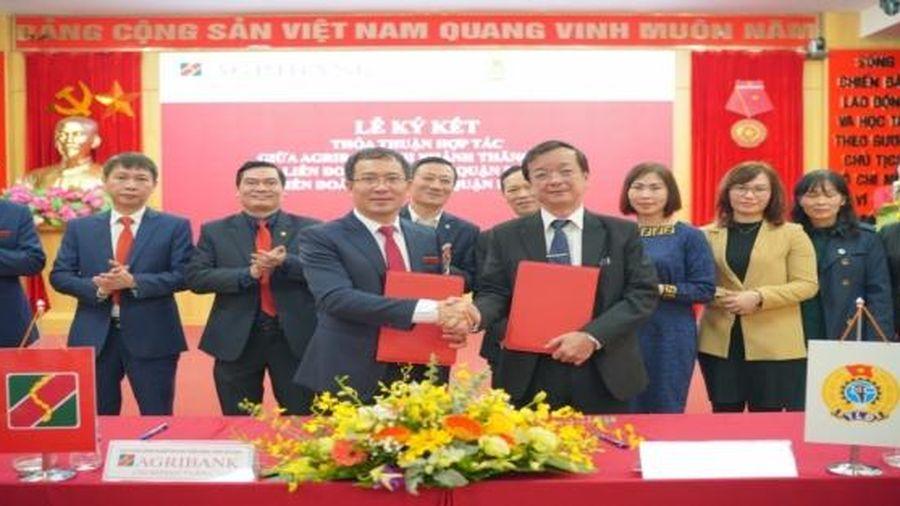 Liên đoàn Lao động quận Đống Đa, Ba Đình và Agribank Chi nhánh Thăng Long ký kết thỏa thuận hợp tác