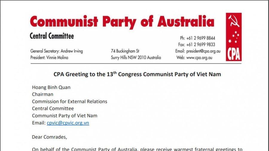 Đảng Cộng sản Australia gửi thư chúc mừng Đại hội Đảng lần thứ XIII