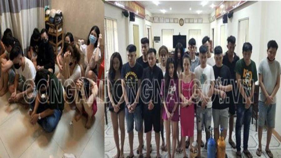 Bắt 15 thanh niên trong ngôi nhà với nhiều túi ma túy đá