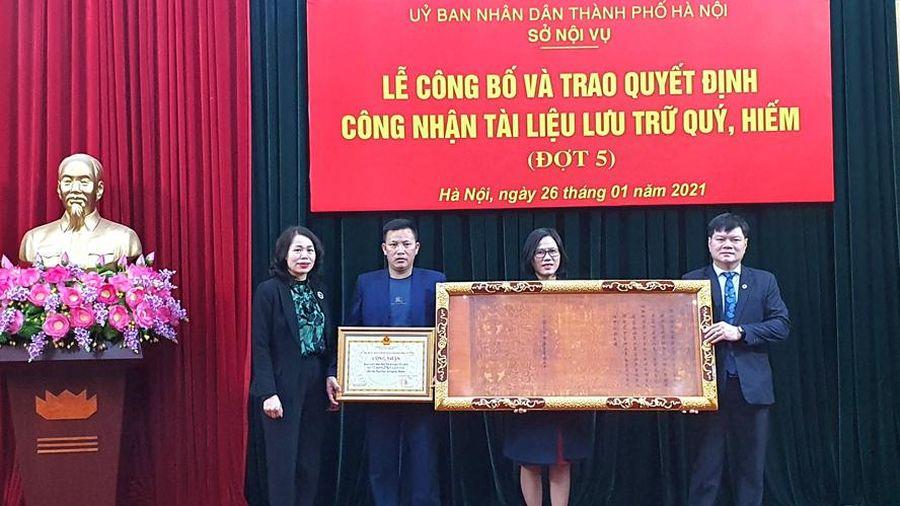 Hà Nội công nhận 1.576 đạo sắc phong là tài liệu lưu trữ quý, hiếm